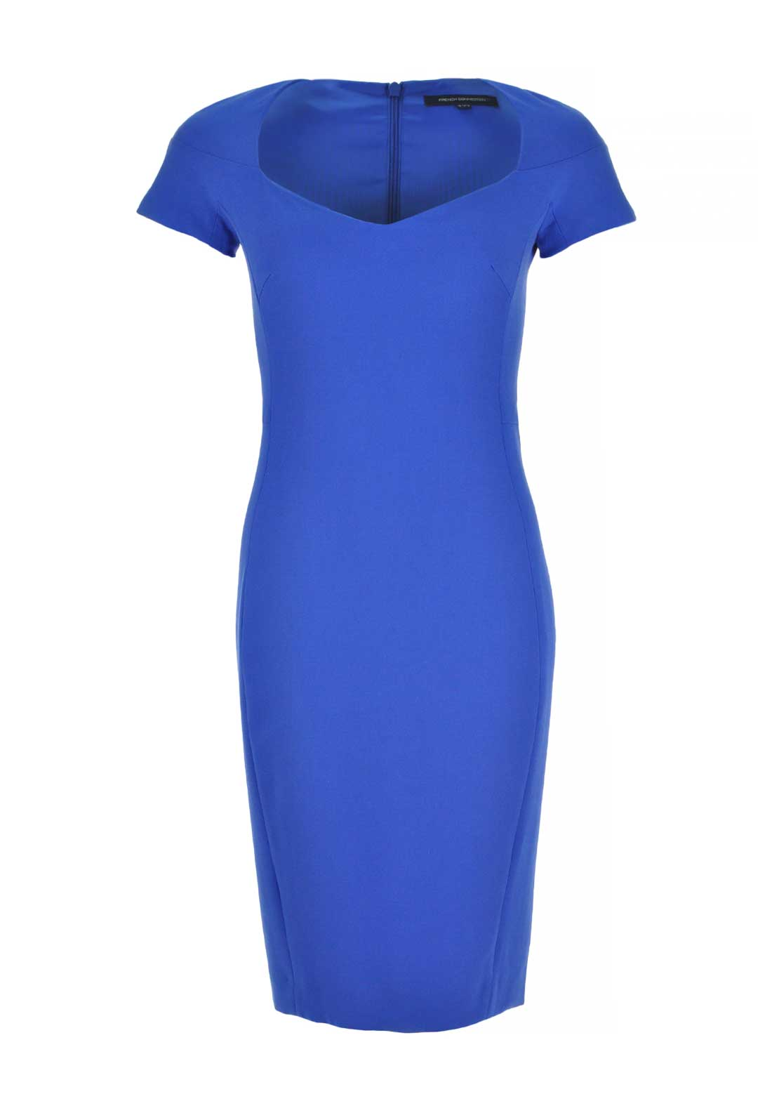 French Connection Short Sleeve Bodycon Dress, Empire Blue