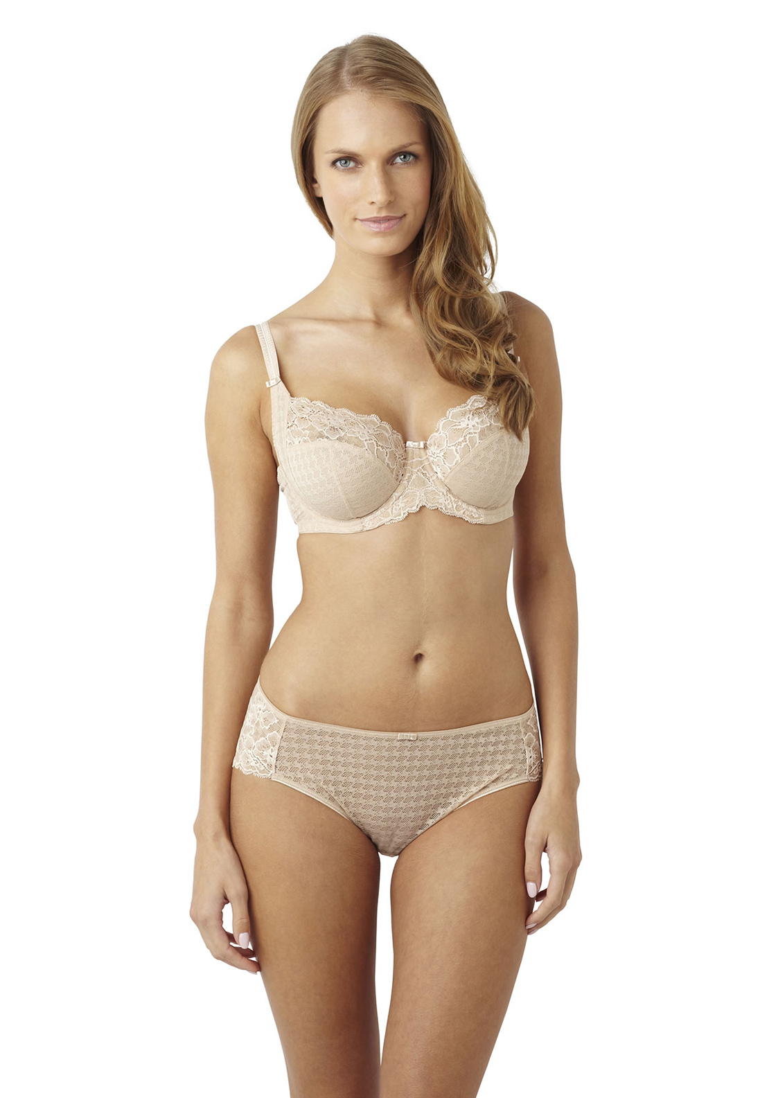 Panache Envy Houndstooth Print Lace Briefs, Nude