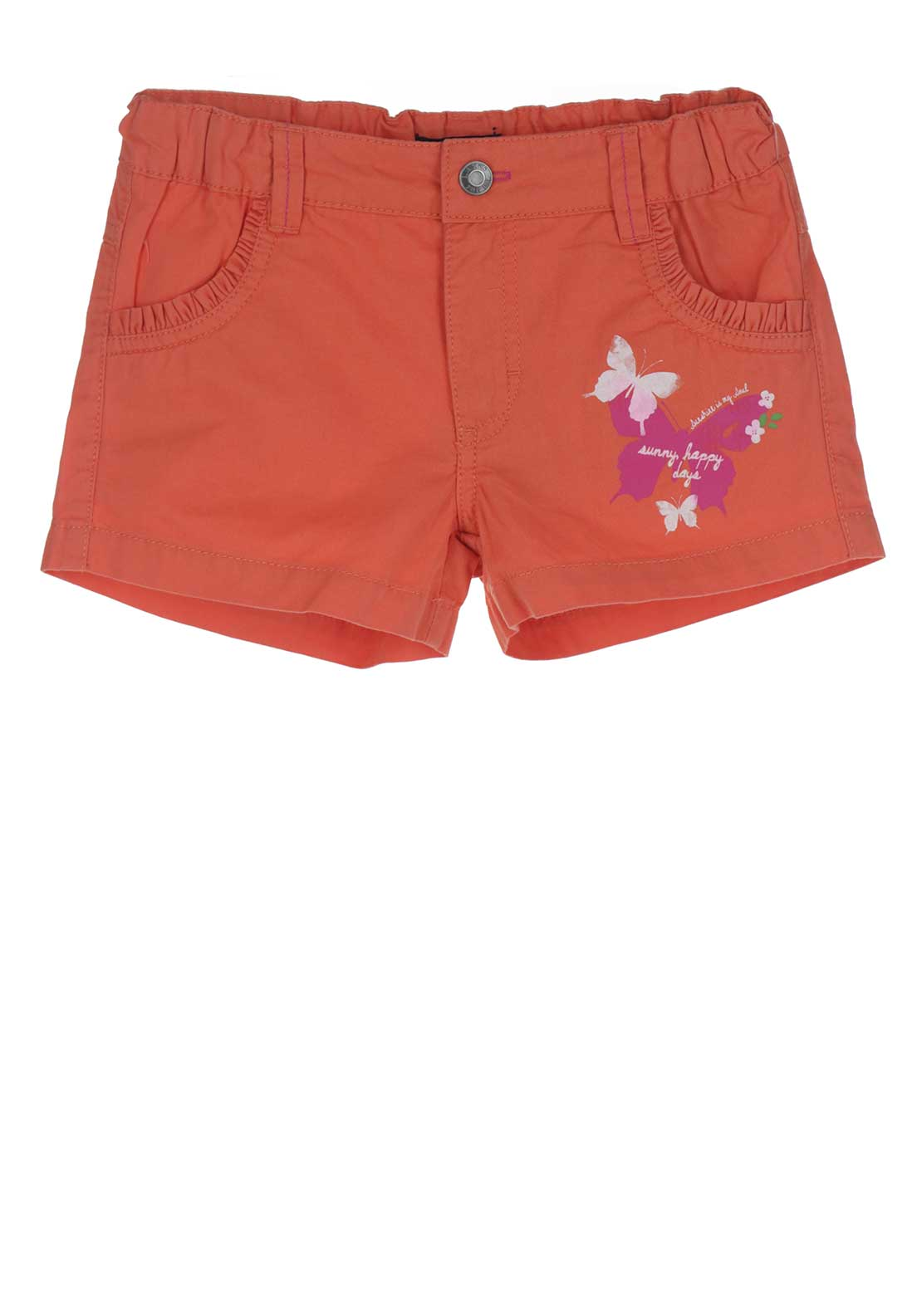 Blue Seven Girls Butterfly Cotton Shorts, Orange