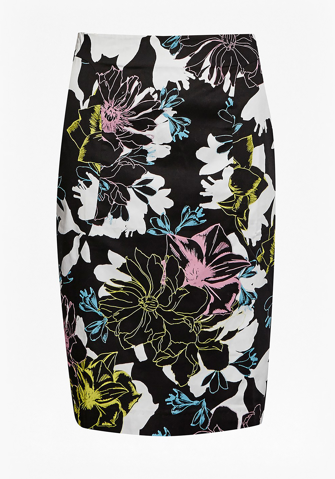 French Connection Botanical Print Pencil Skirt, Black Multi