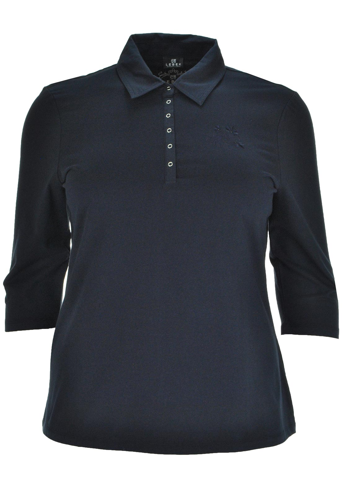 Lebek Cropped Sleeve Polo Shirt, Navy