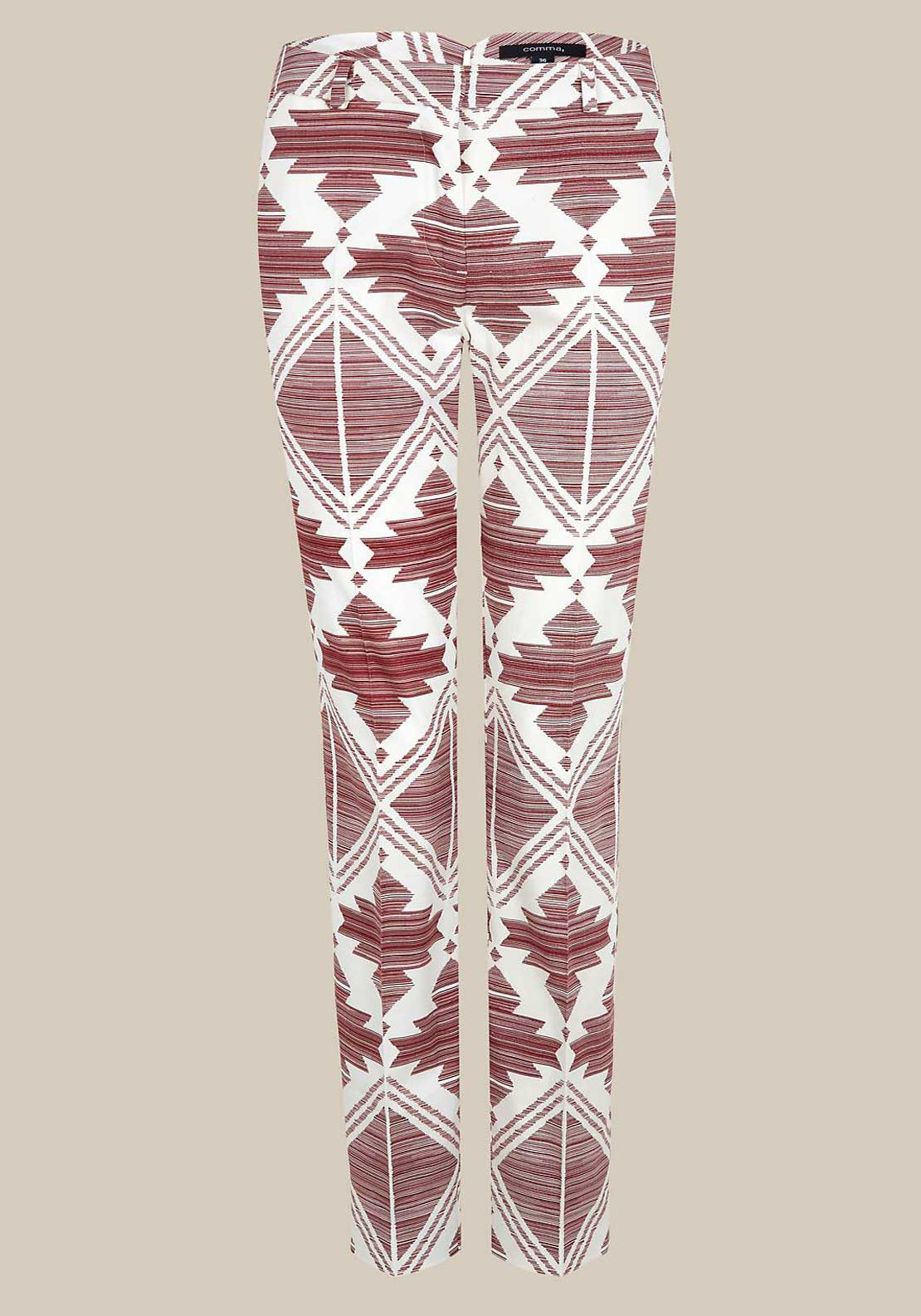 Comma Aztec Print Slim Leg Trousers, Berry and White
