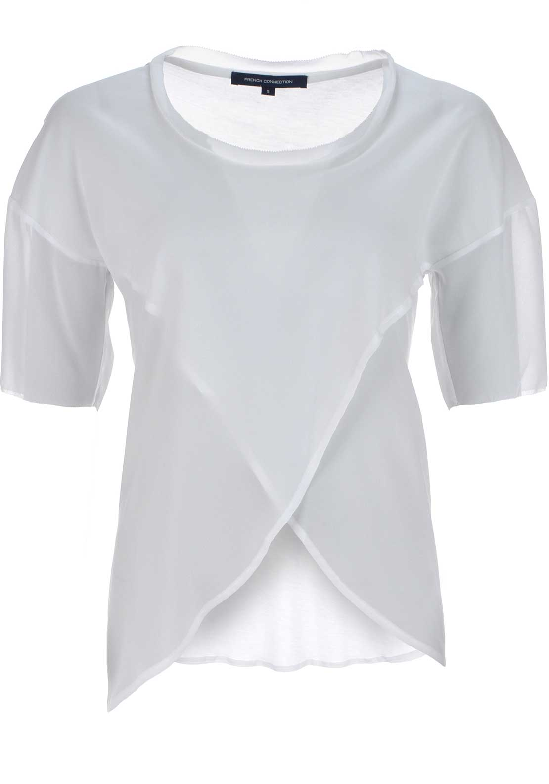 French Connection Womens Semi Sheer Chiffon Wrap over Top, Summer White