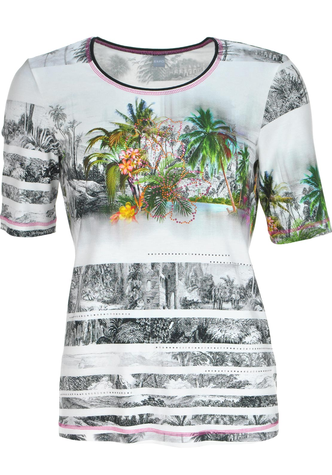 ERFO Tropical Print Short Sleeve T-Shirt, Multi-Coloured