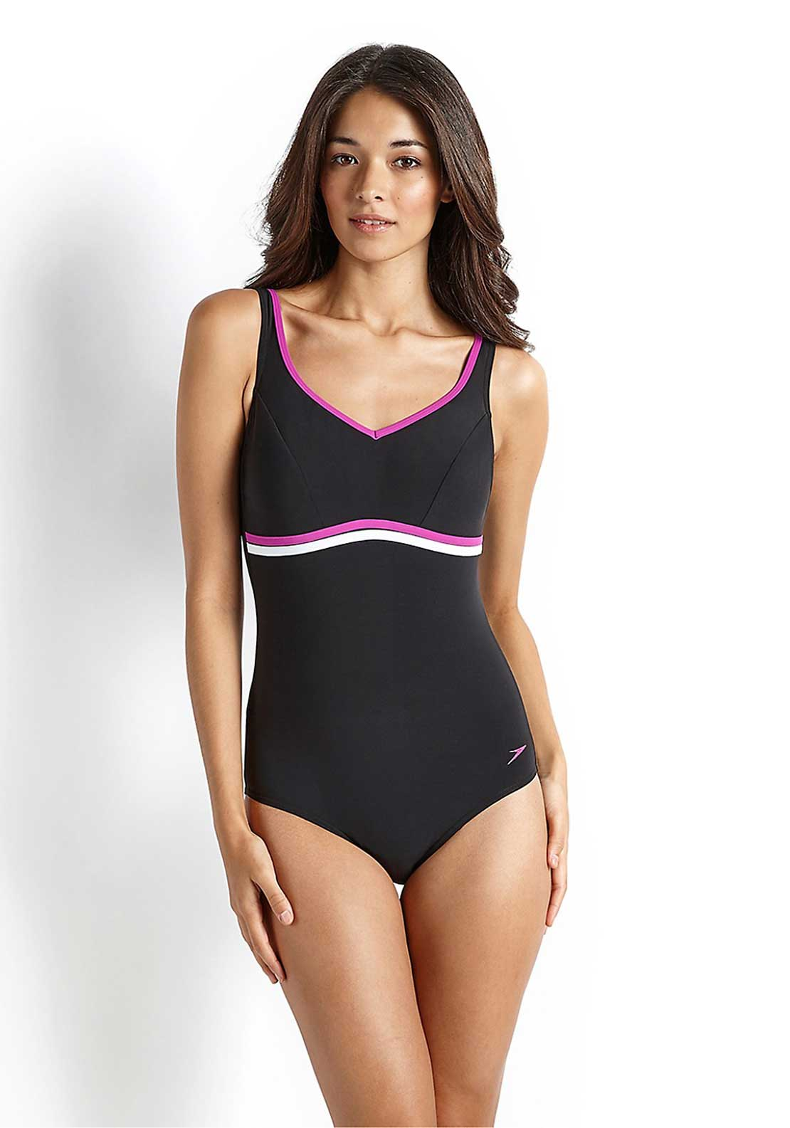 Speedo Womens Sculpture Contourluxe Swimsuit, Black & Purple Multi
