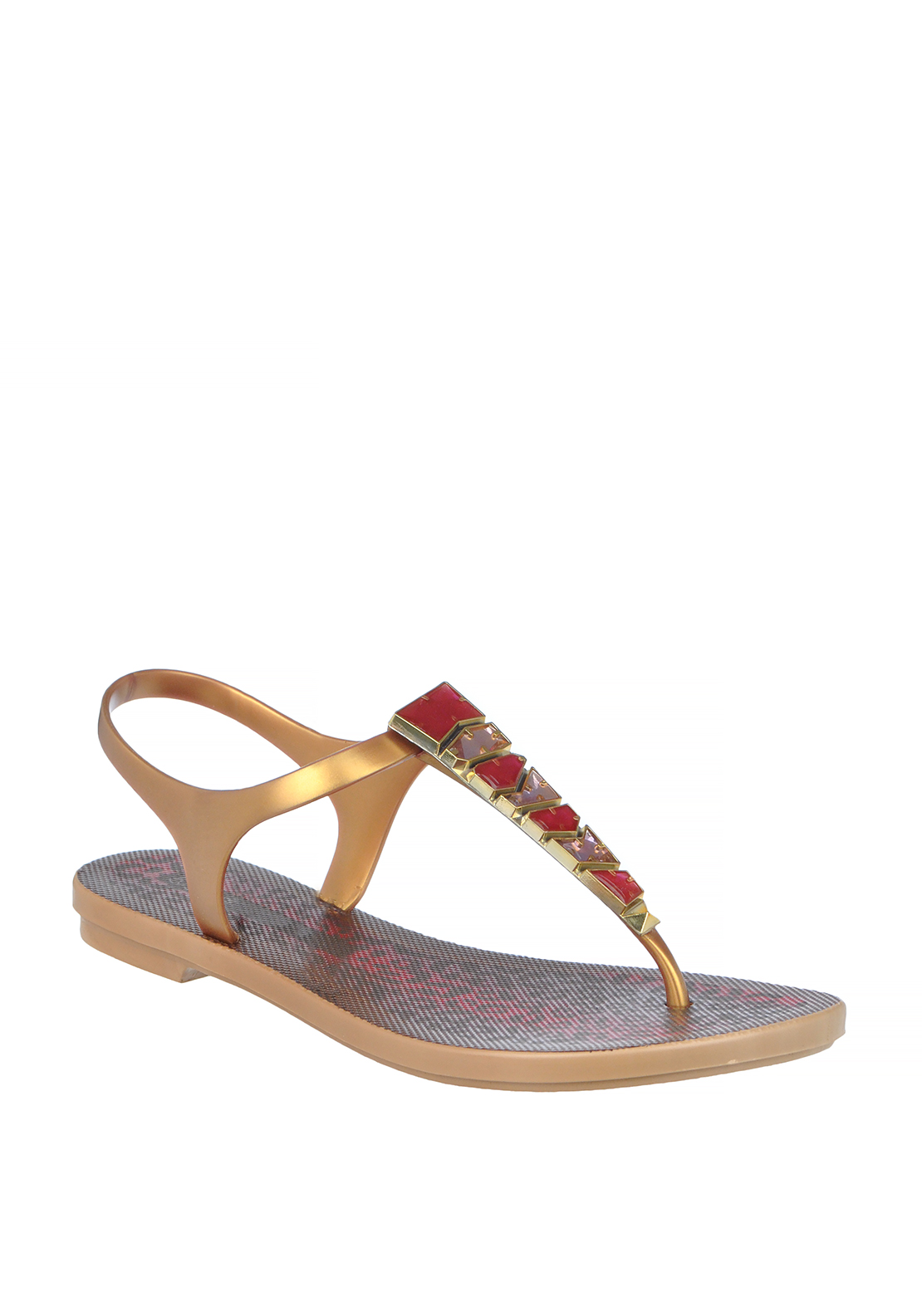 Ipanema Gem Embellished Toe Thong Sandals, Gold