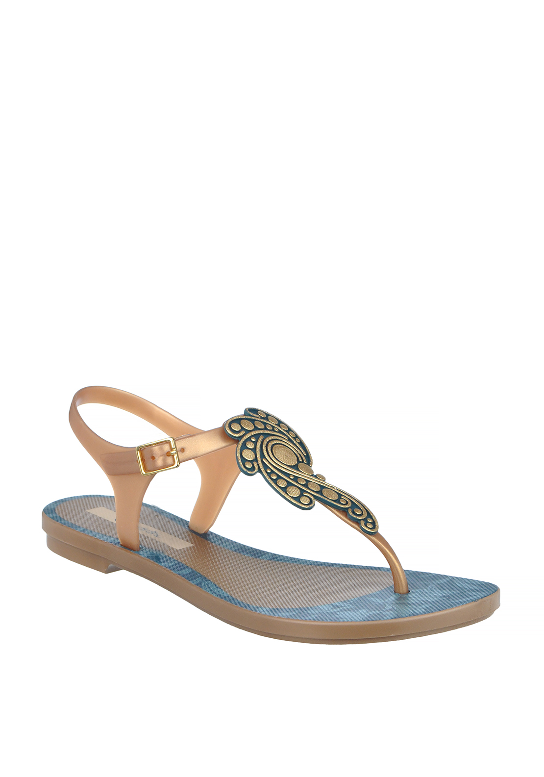 Ipanema Embellished T-Bar Toe Thong Sandals, Gold and Blue