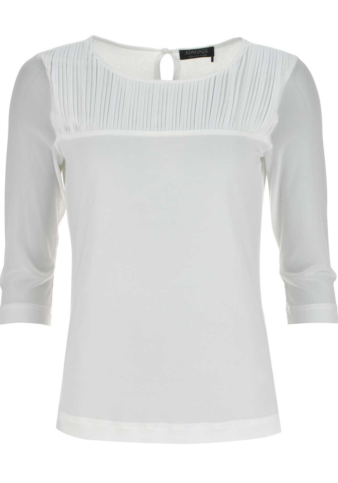 Apanage Pleated Detail Cropped Sleeve Top, Ivory