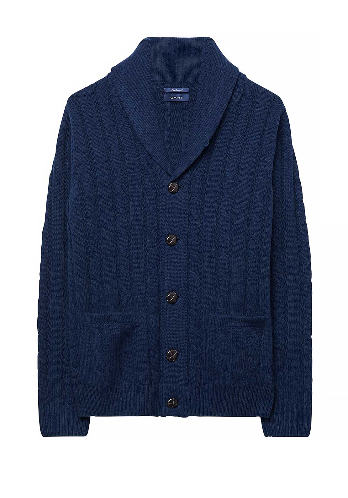 GANT Mens Lambswool Cable Shawl Cardigan, Blue