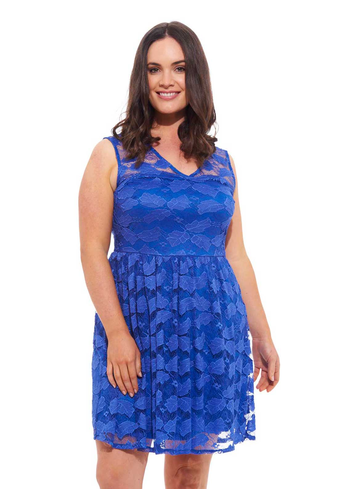 Lovedrobe V Neck Lace Skater Dress, Blue