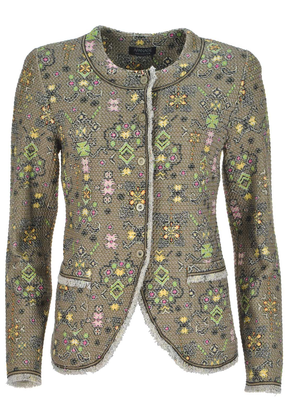 Apanage Printed Cotton Rich Jacket, Khaki Multi