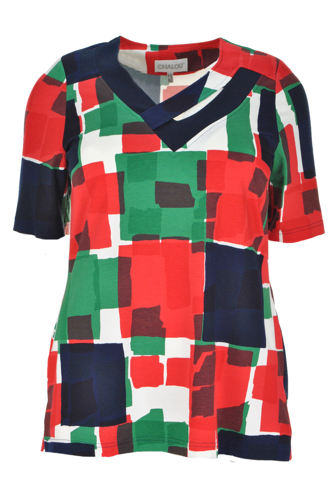 Chalou Abstract Print Short Sleeve V-Neck T-Shirt, Red Multi