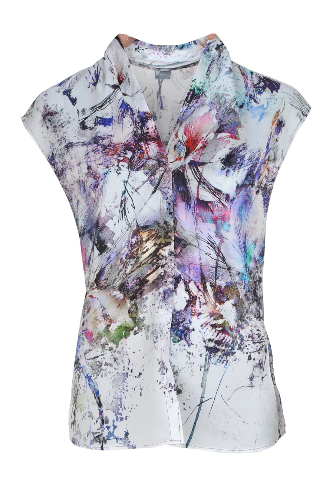 ERFO Digital Print Sleeveless V-Neck Blouse, Multi-Coloured