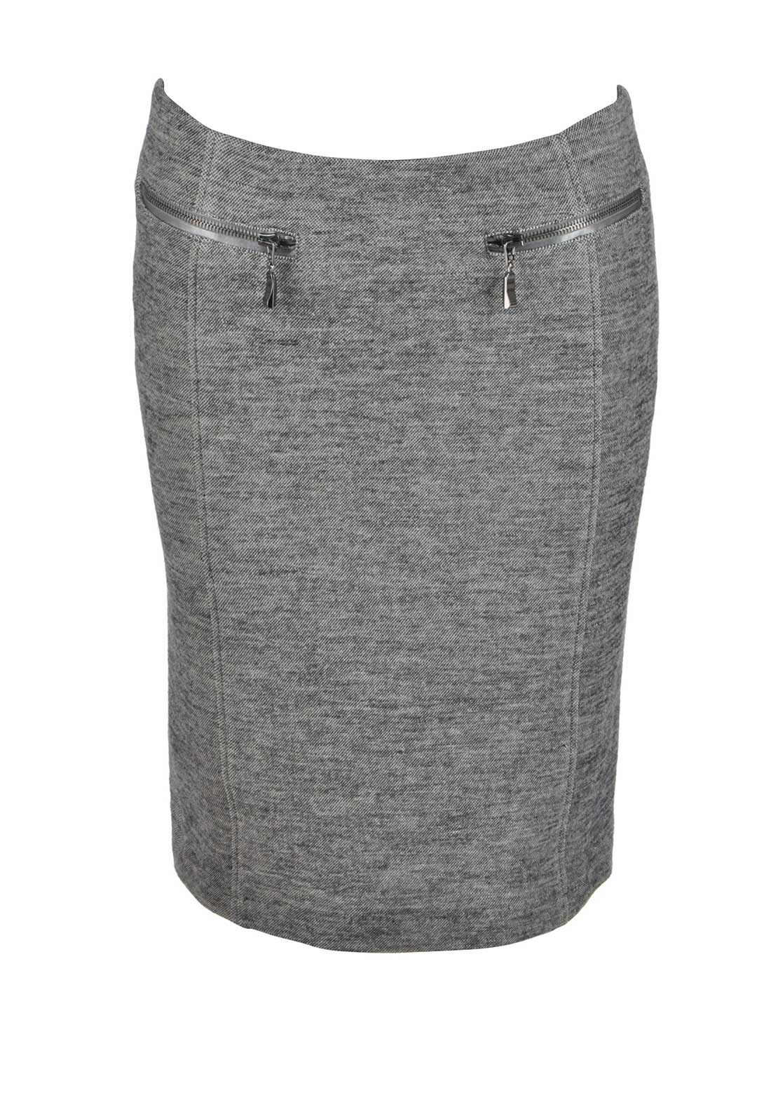 Apanage Wool Blend Jersey Straight Skirt, Grey