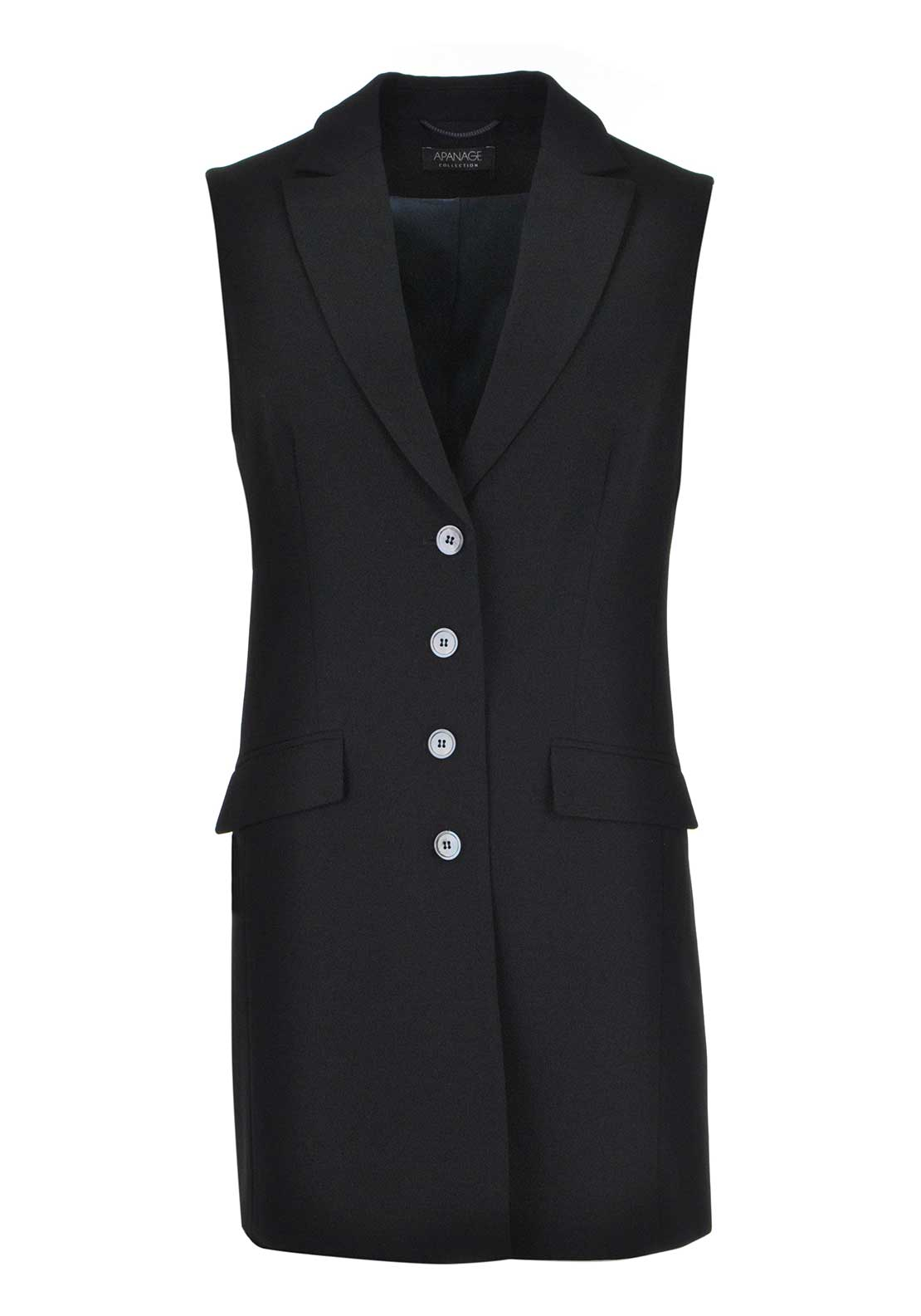 Apanage Long Length Waistcoat, Black