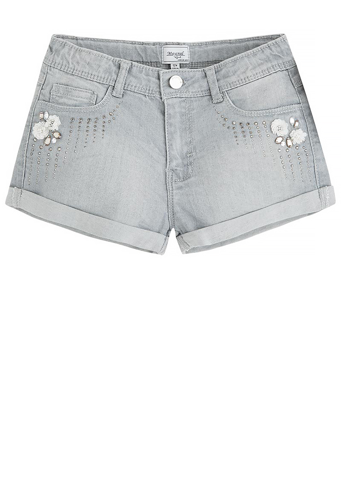 Mayoral Girls Embellished Denim Shorts, Grey