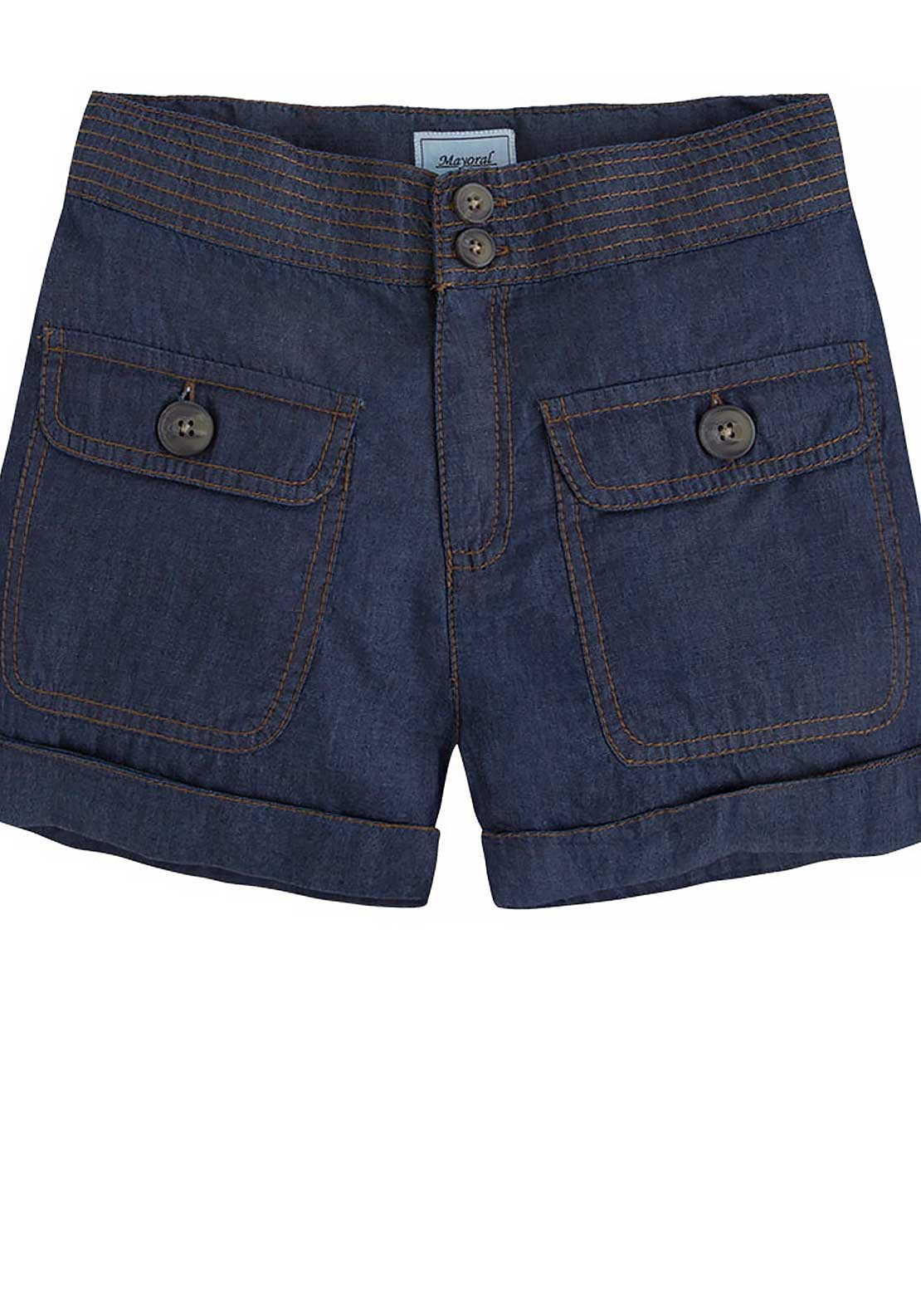 Mayoral Girls Cotton Shorts, Dark Blue Denim