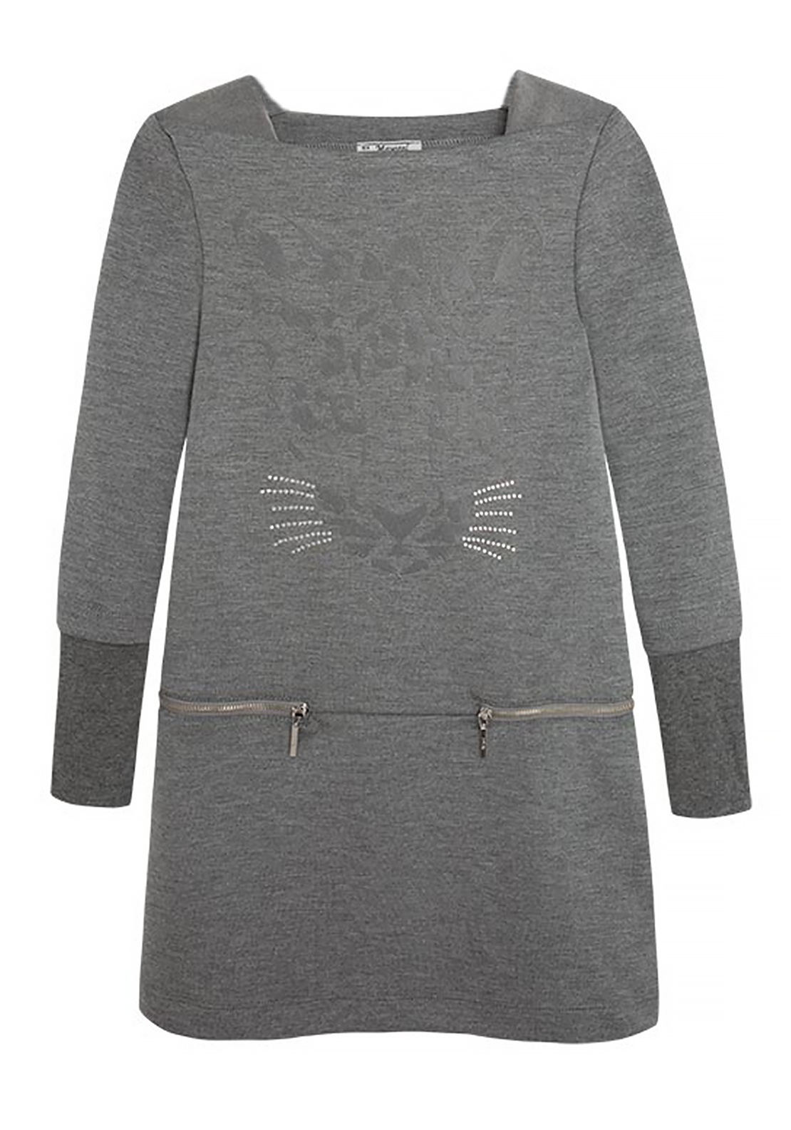 Mayoral Girls Tiger Embellished Jersey Dress, Grey