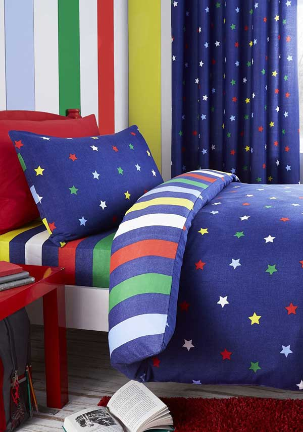 Catherine Lansfield Home Multi Star Duvet Set, Navy
