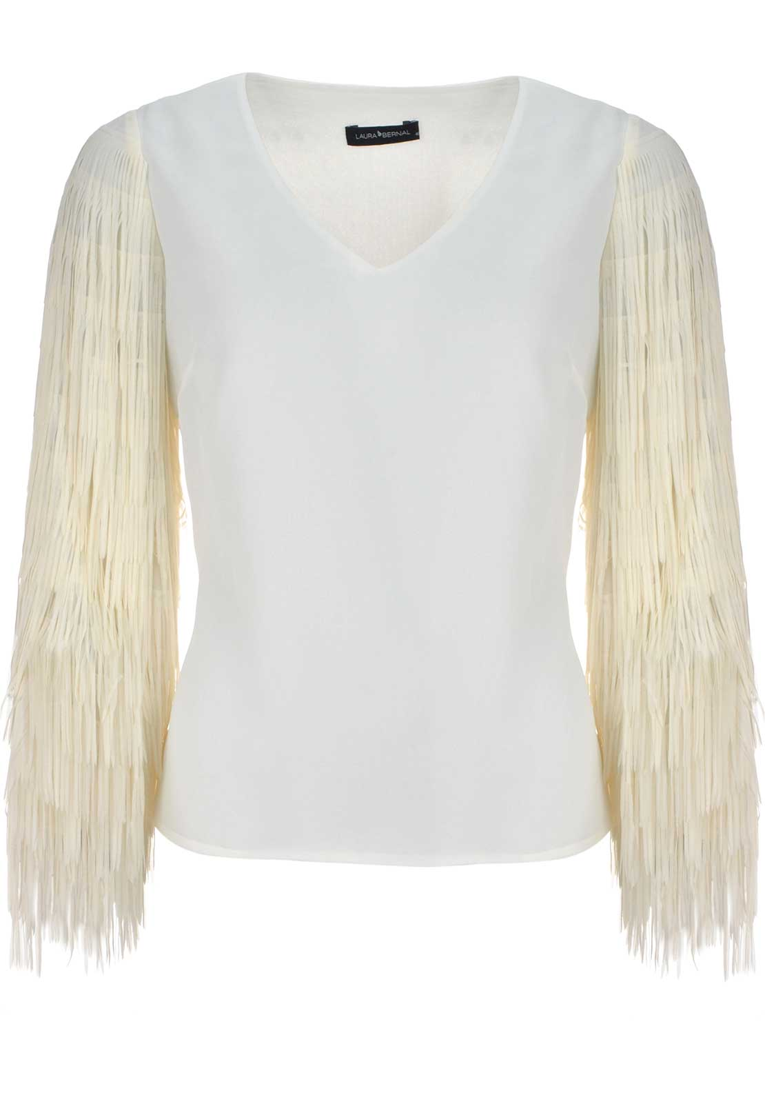 Laura Bernal Fringed Long Sleeve Top, Ivory
