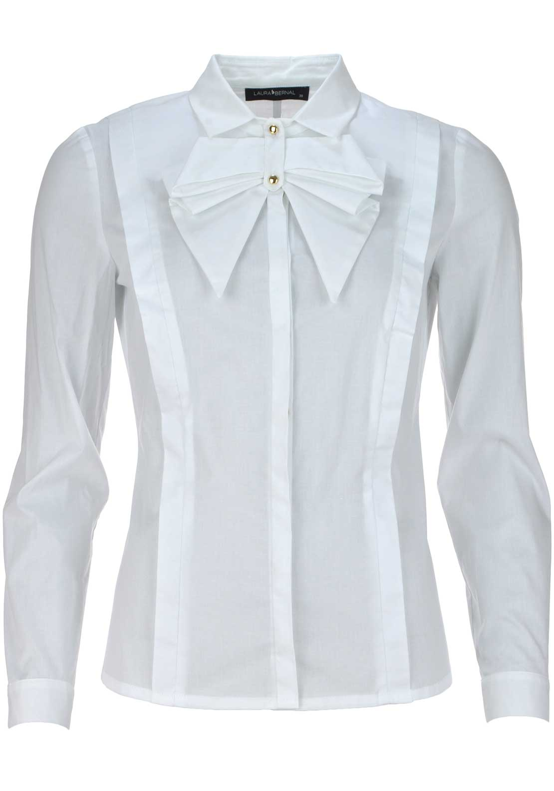 Laura Bernal Bow Detail Long Sleeve Blouse, White