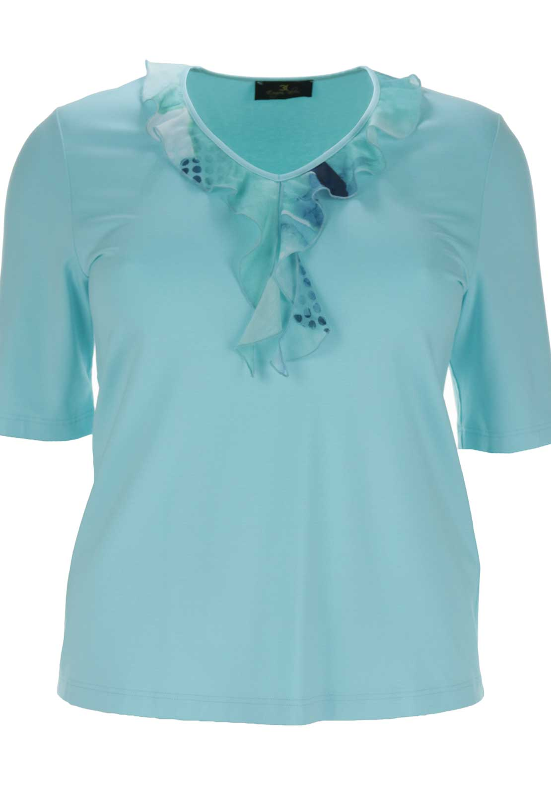 Eugen Klein Frilled Detail Top, Turquoise