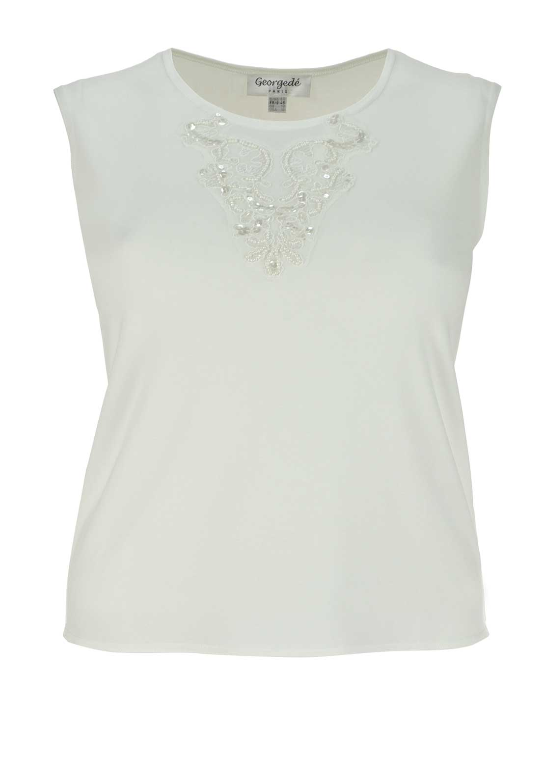 Georgede Bead Embellished Sleeveless Top, Cream