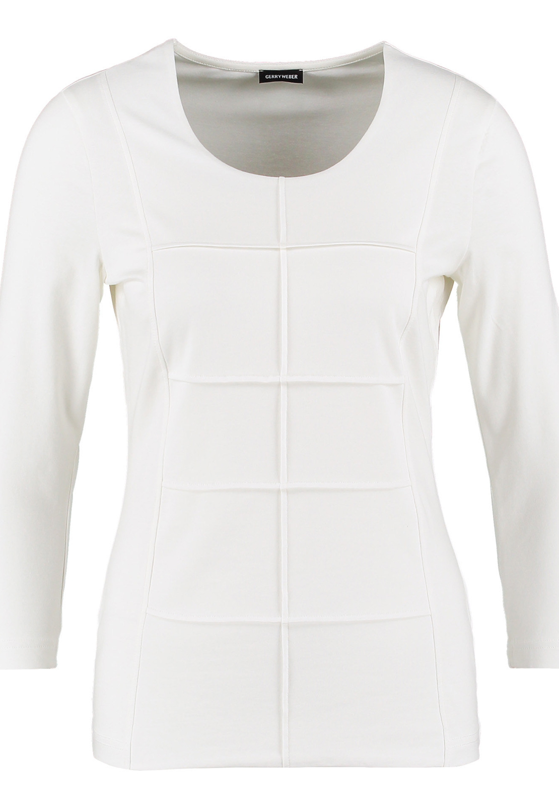Gerry Weber Embossed Check Print Cropped Sleeve T-Shirt, Ivory