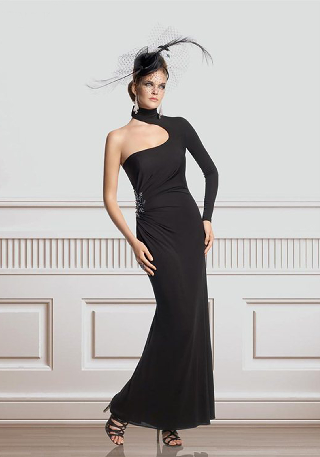 Ronald Joyce Cut-Out Long Dress, Black