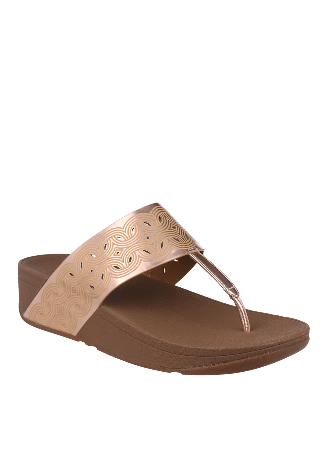 Fit Flop™ Bahia™ IMI Leather Toe Thong Sandals, Rose Gold