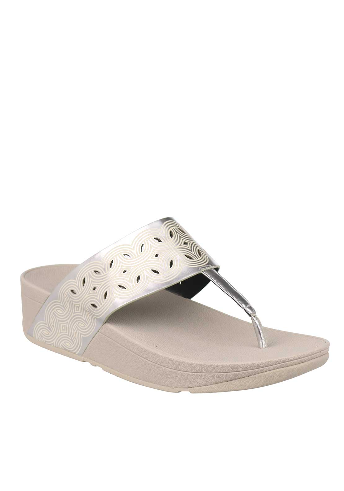 Fit Flop™ Bahia™ IMI Leather Toe Thong Sandals, Silver