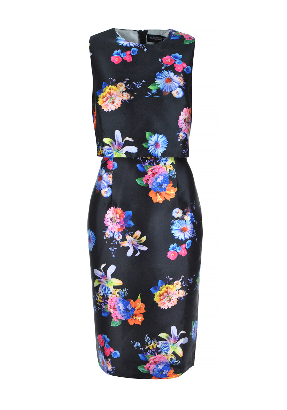 My Sister's Closet Alice Floral Print Satin Overlay Dress, Black
