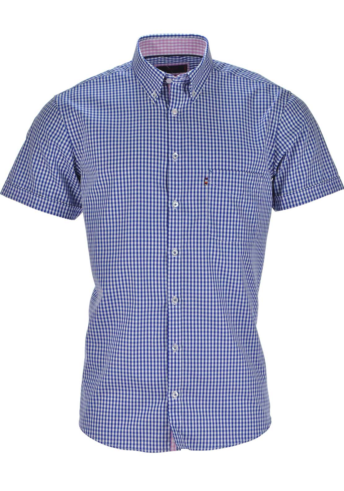 Andre Mens Fergus Short Sleeved Gingham Checked Shirt, Blue