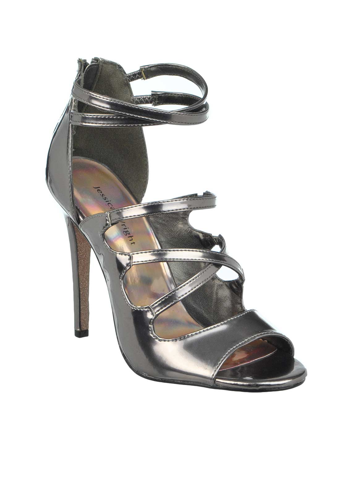 Jessica Wright Angelina Metallic Strappy Open Toe Heeled Sandals, Pewter