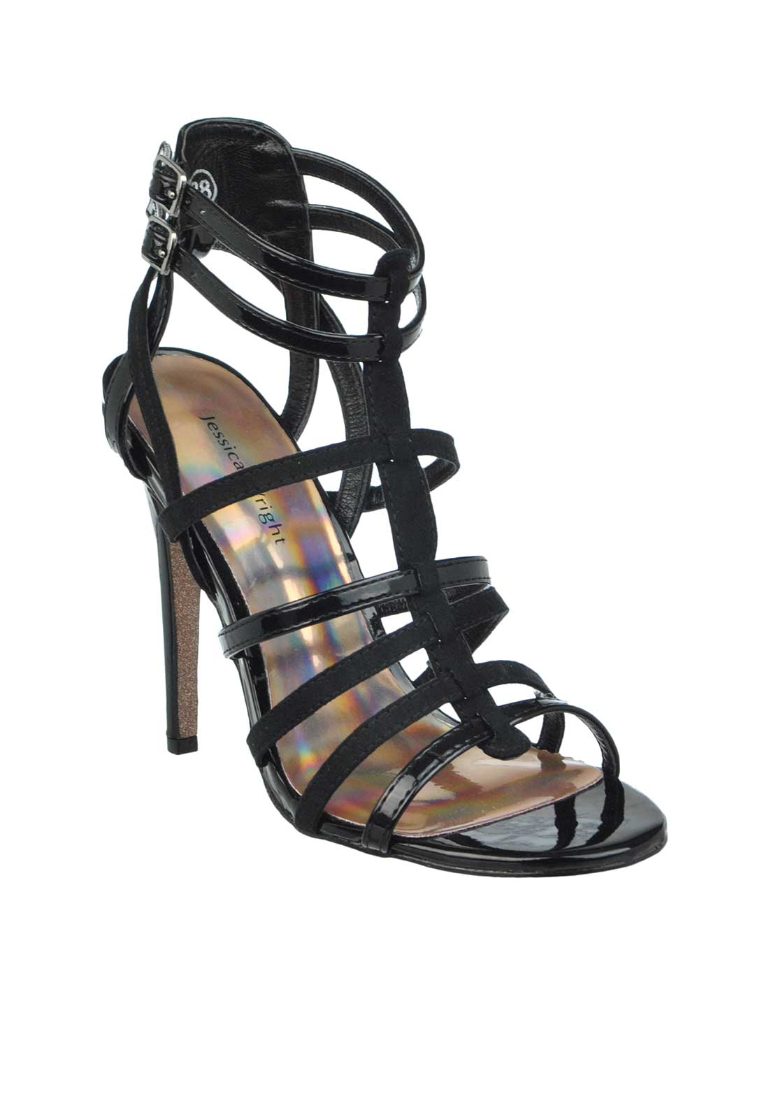 Jessica Wright Ann Patent Heeled Gladiator Sandals, Black