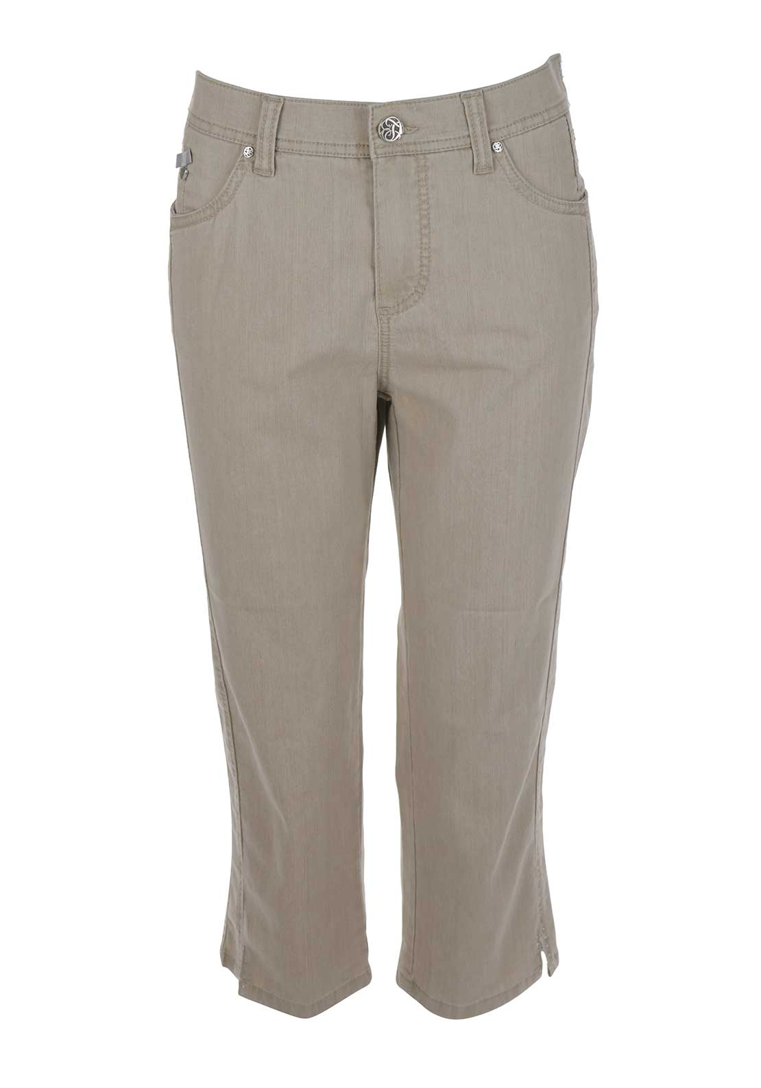 Anna Montana Dora Cropped 3/4 Length Straight Leg Jeans, Beige