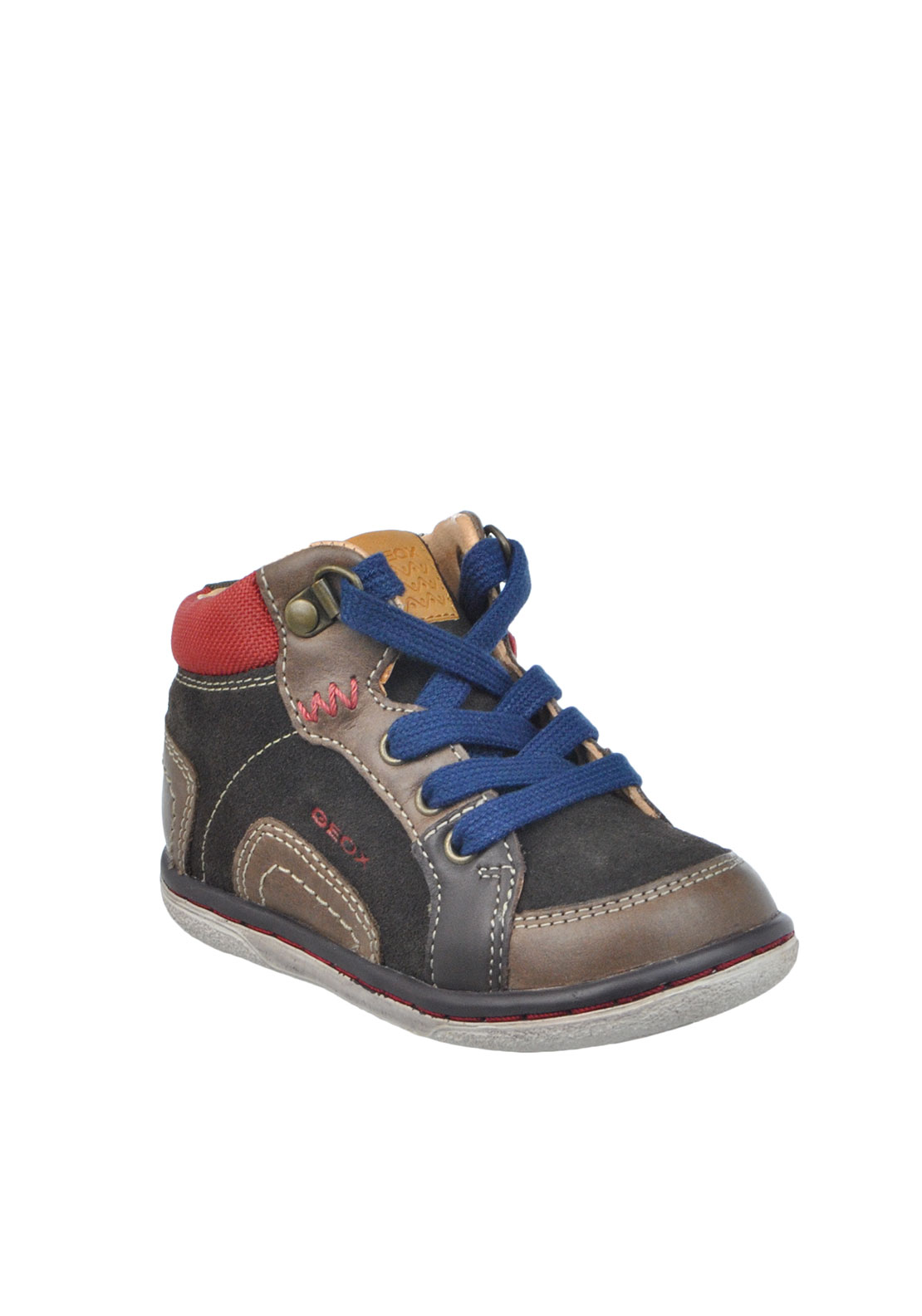 Geox Baby Boys Respira Suede Laced Hi Top Trainers, Coffee