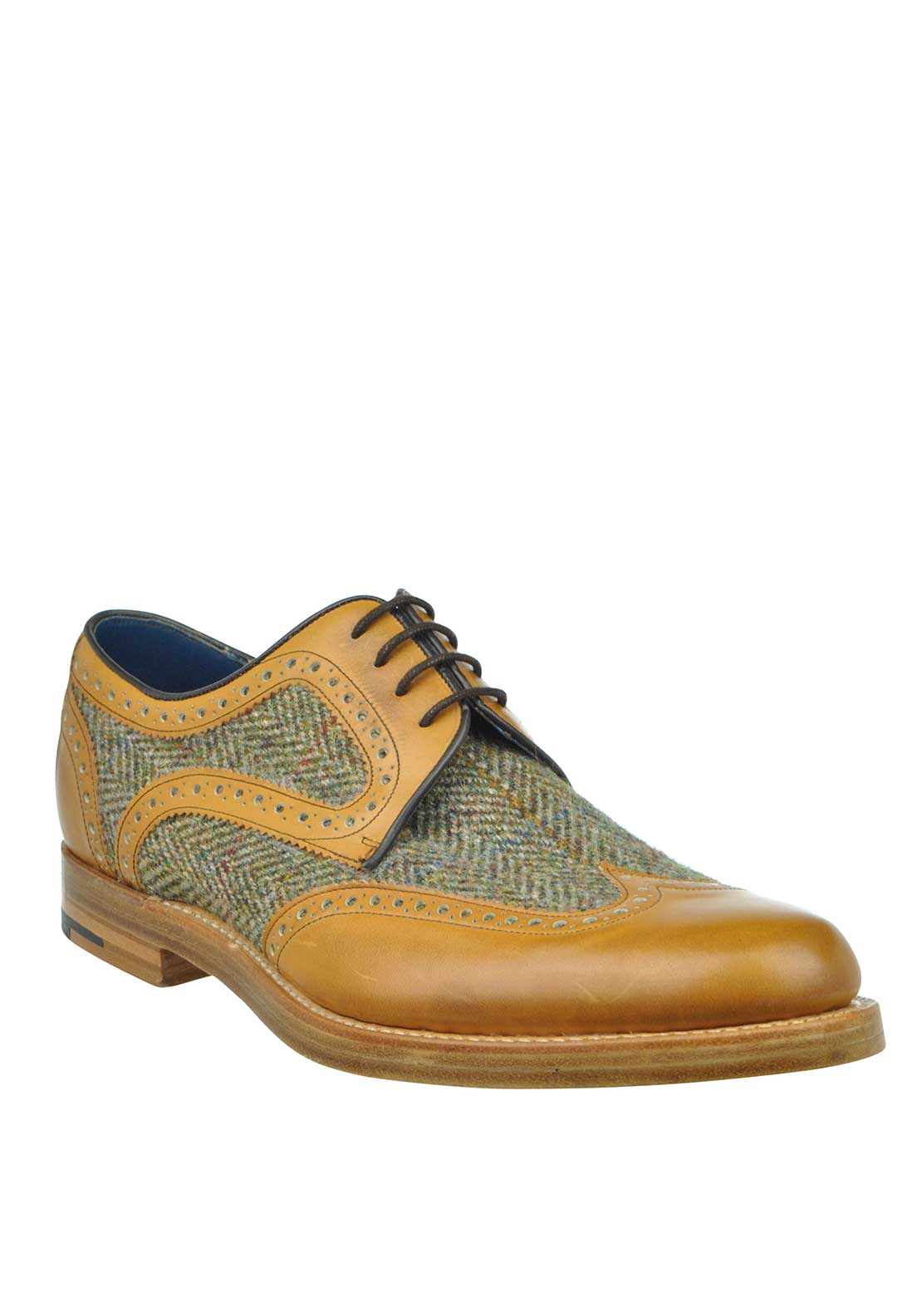 Barker Mens Dowd Derby Wingtip Shoe, Tan