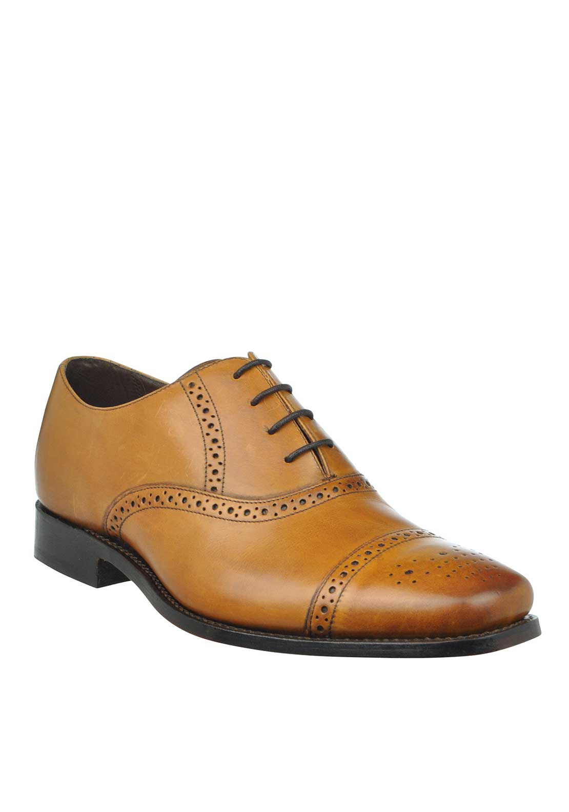 Barker Mens Flynn Derby Lace Up Shoes, Cedar Calf