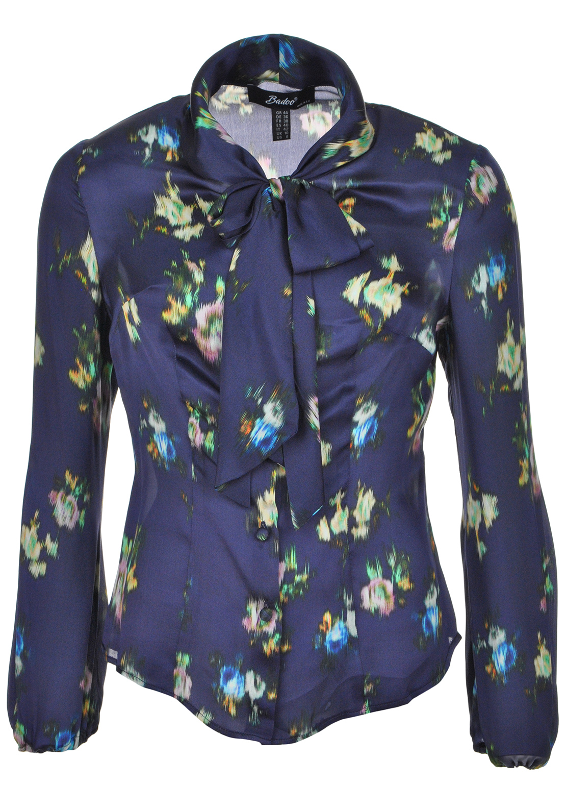 Badoo Abstract Print Silk Pussy Bow Blouse, Navy Multi