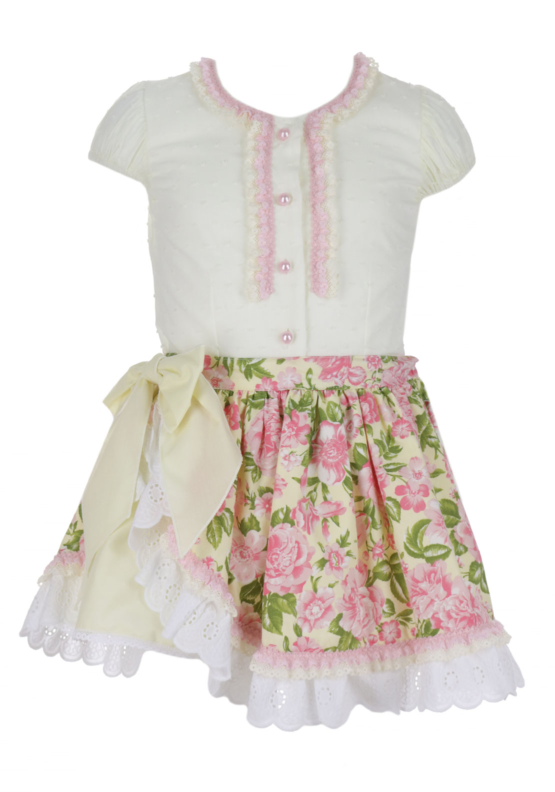 Bea Cadillac Lace Panel Blouse and Rose Print Skirt, Cream