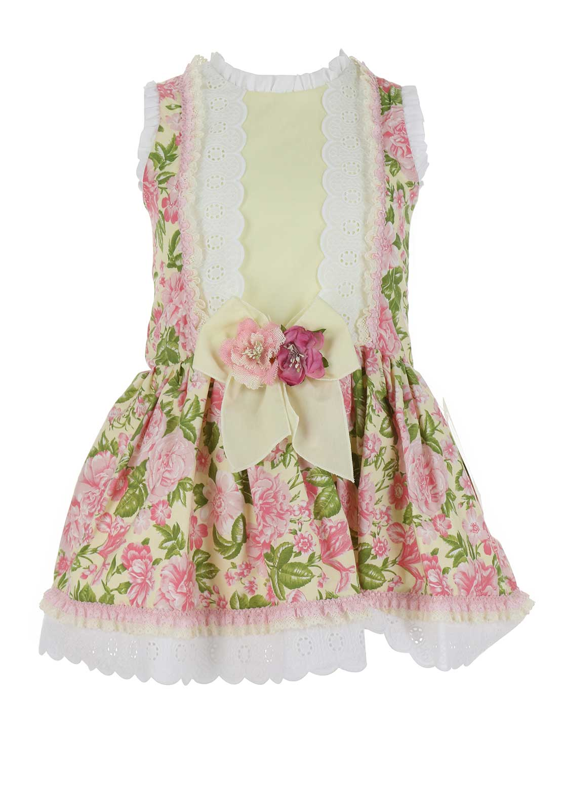 Bea Cadillac Rose Print Frilled Dress, Pink