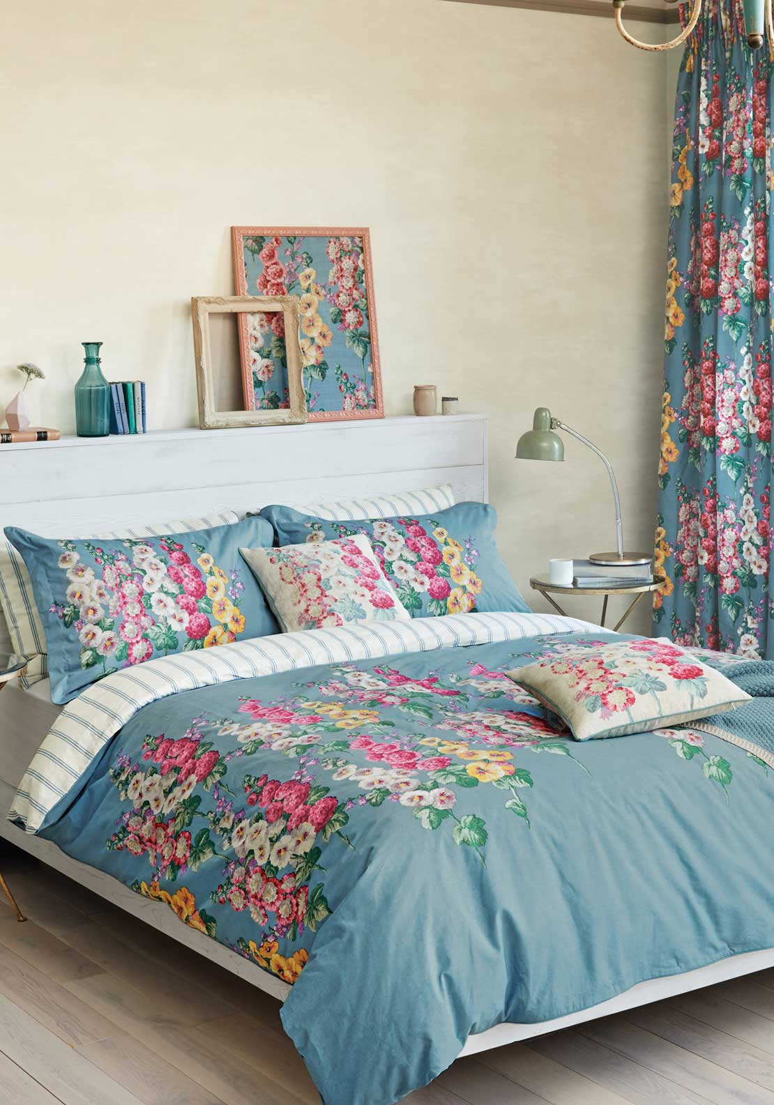 Sanderson Hollyhocks Duvet Cover, Blue with Multi Floral Print