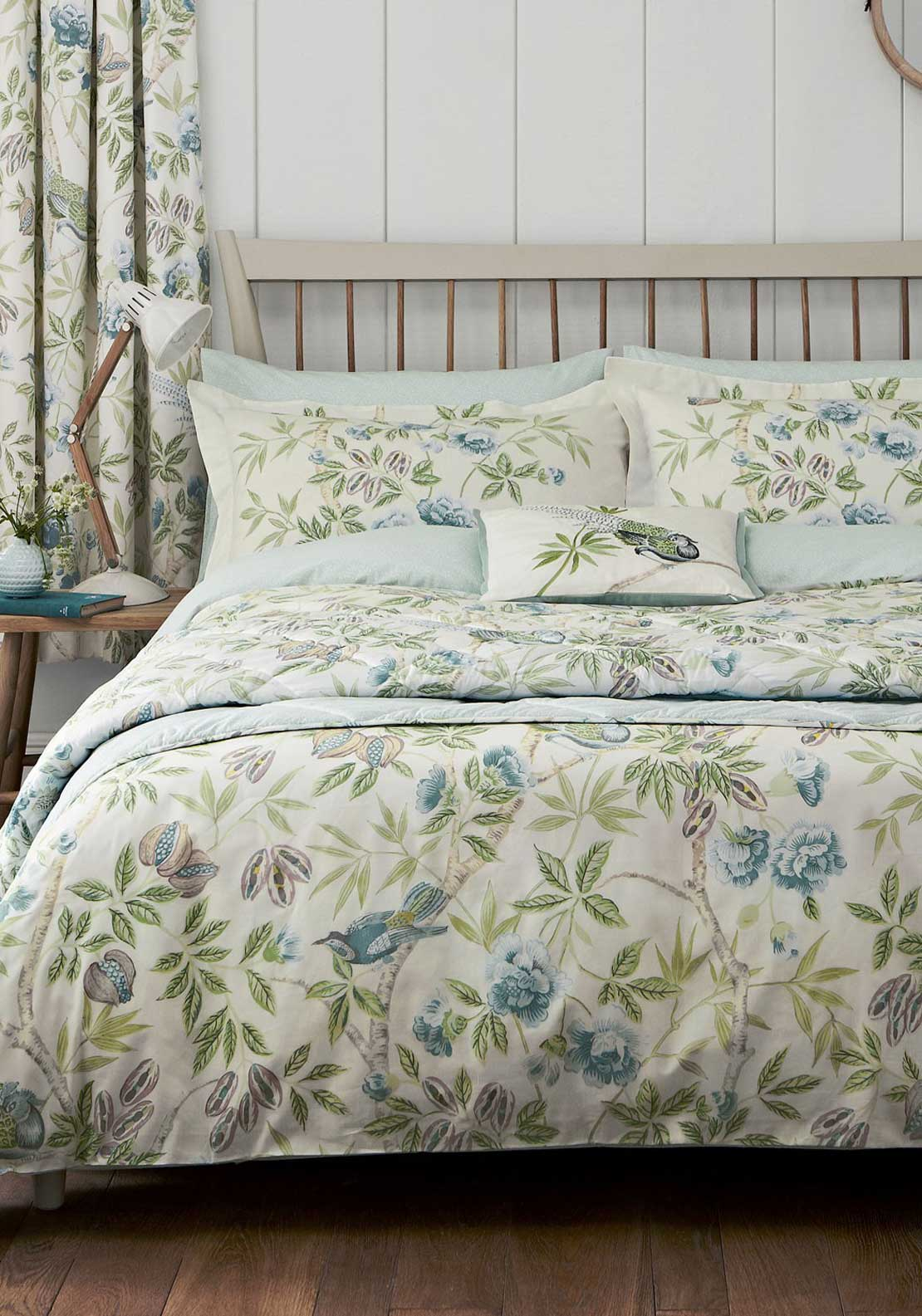 Sanderson Options Abbeville Duck Egg Bed Linen Set, Beige with Green and Blue Forest Print