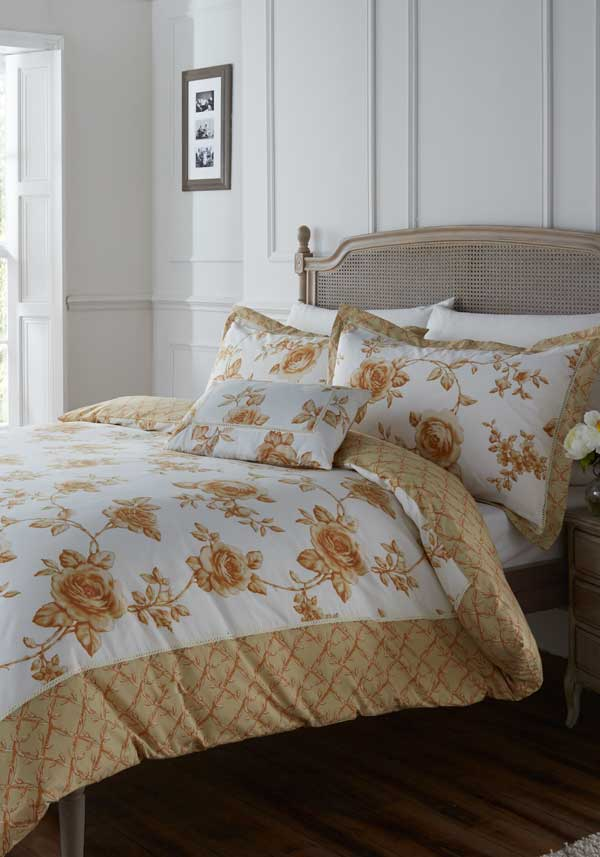 Country Classics Rouen Embellished Percale Duvet Set, Gold