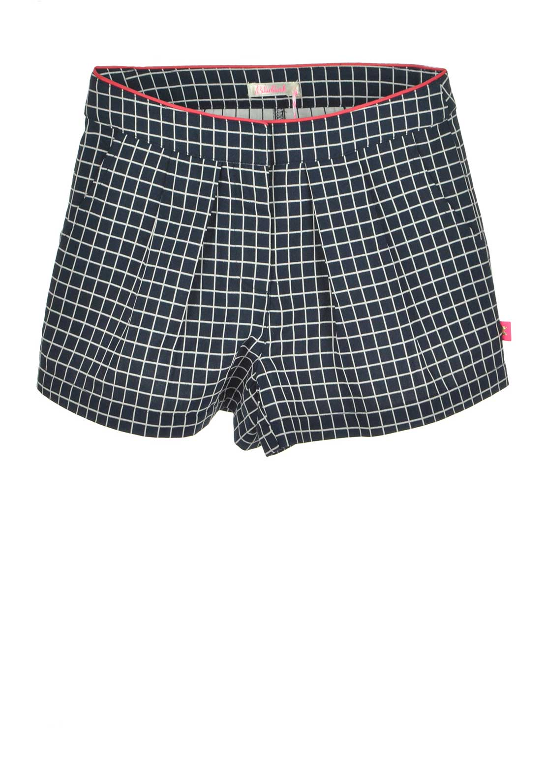 Billieblush Grid Print Pleated Shorts, Navy