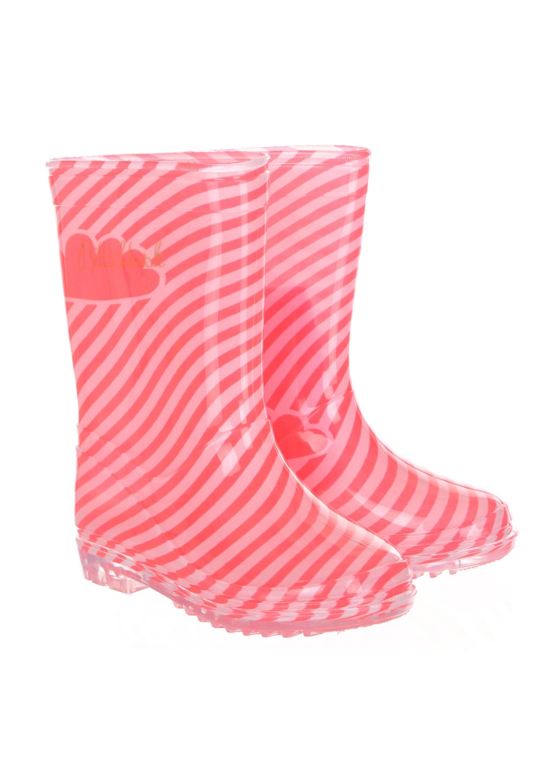 Billieblush Girls Striped Welly Boots, Pink