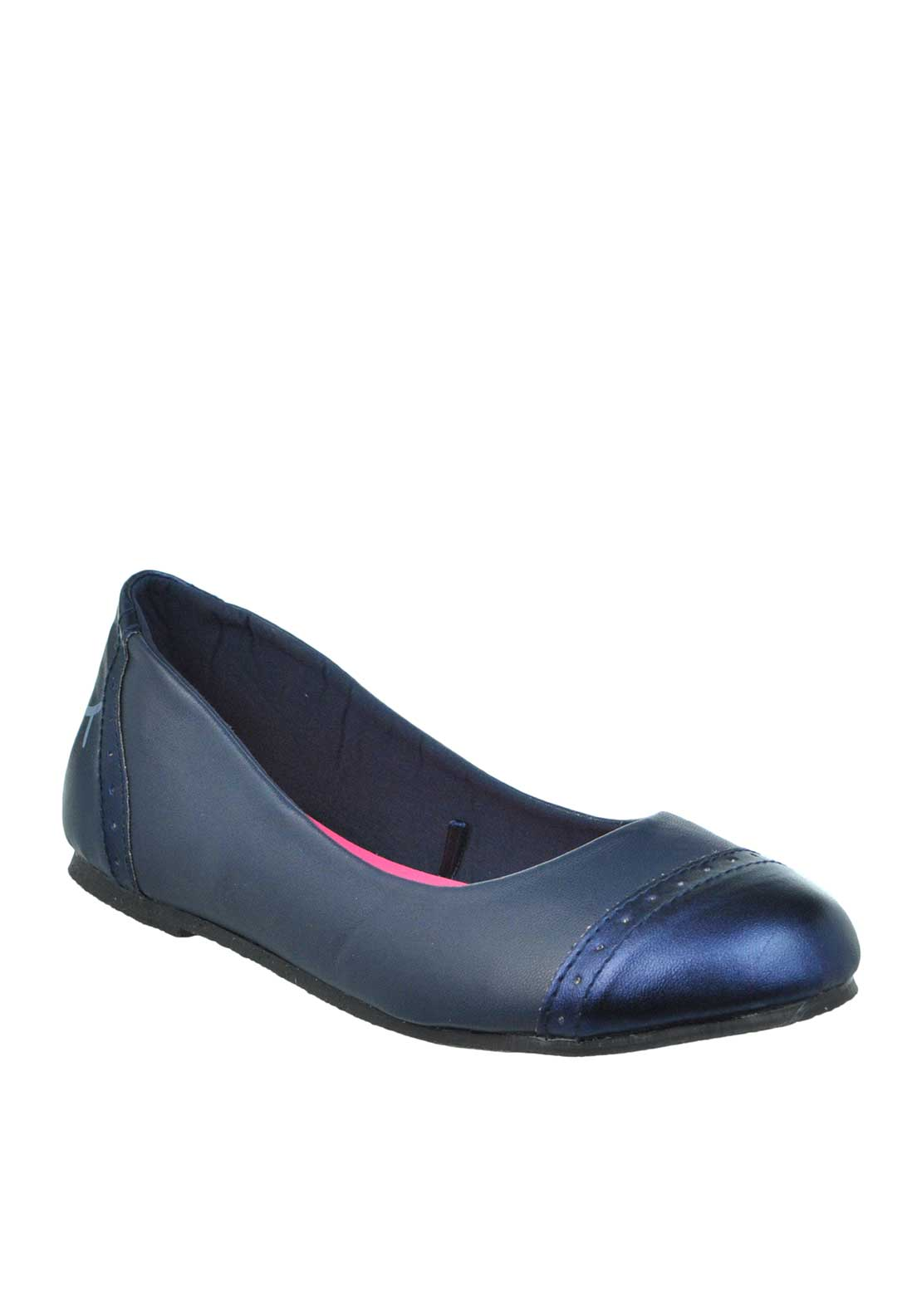 Billieblush Girls Leather Look Eyelash Print Pumps, Navy
