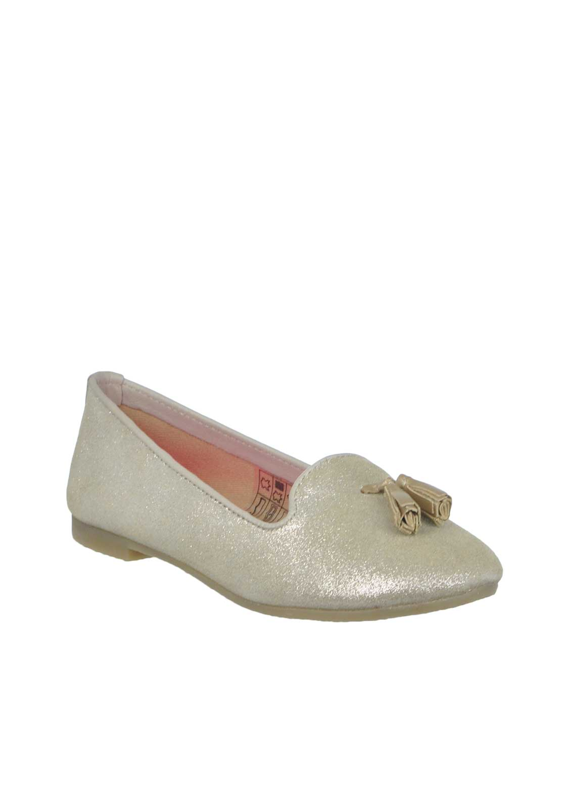 Billieblush Suede Glitter Tassel Slipper Leather Pump, Gold