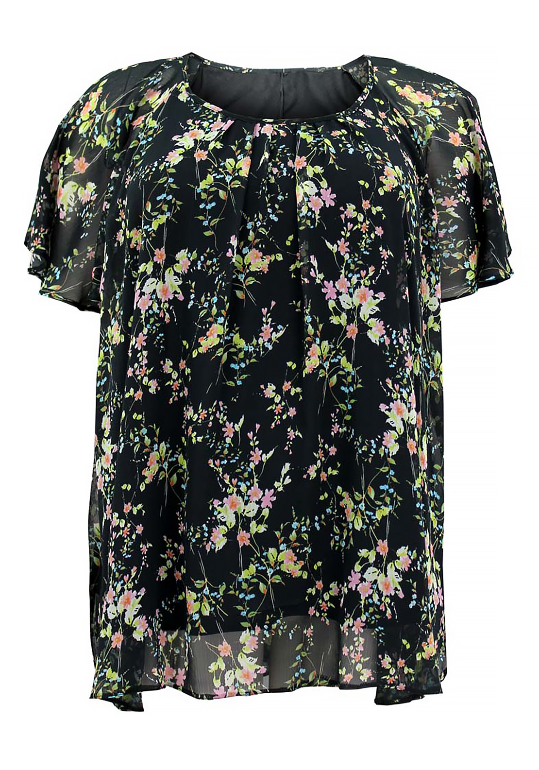 Lovedrobe Floral Print Chiffon Tunic Top, Black
